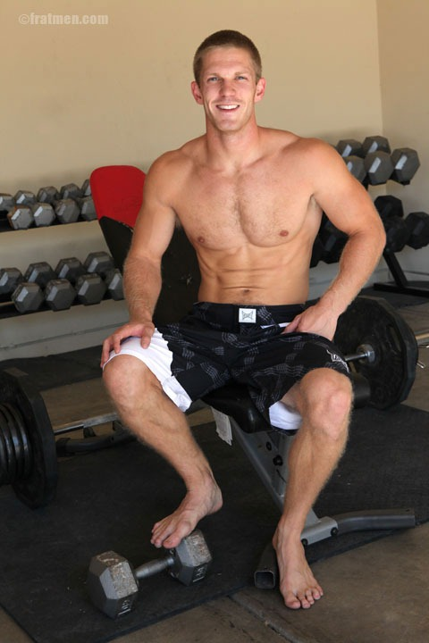 amazing looking jock whacking off in gym