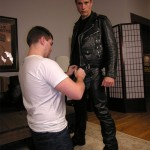 Pete Comes In His Leather Biker Suit For A Blowjob