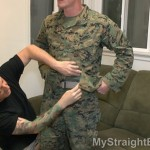 Mystery Marine Gets His Big Dick Serviced
