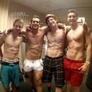 Four Straight Muscled College Jocks In Jerkoff Competition