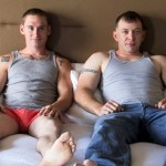 Ripped & Big-Dicked Military Stud Tim Barebacks Newbie Dude Nate