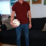 Handsome Straight Footballer James Welback Strokes HisHuge Uncut Cock