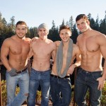 Four Ripped Jocks Have Some Wild Bareback Fun In The Mountain House