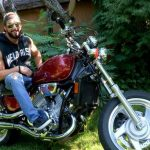 Sexy Ripped Motorbiker Zack Flexes His Muscles & Strokes His Big Cock In The Garden