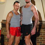 Tall, Tattooed & Muscular Hunk Troy Fucks Short Ripped & Extra-Hung Dude Caleb